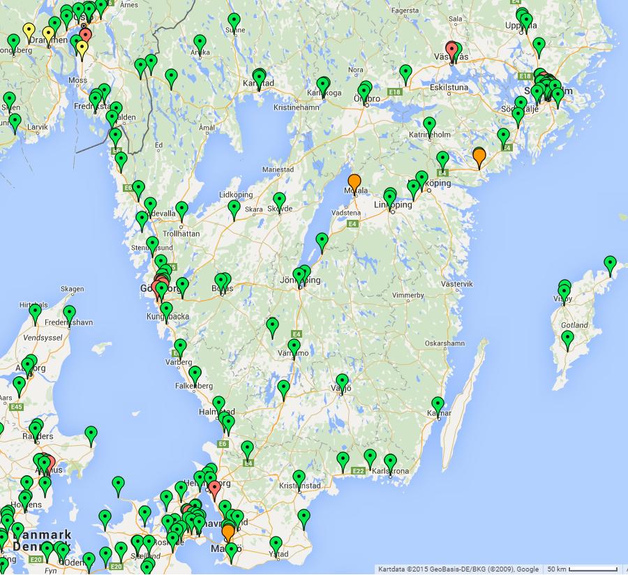 Snabbladdare i södra Sverige