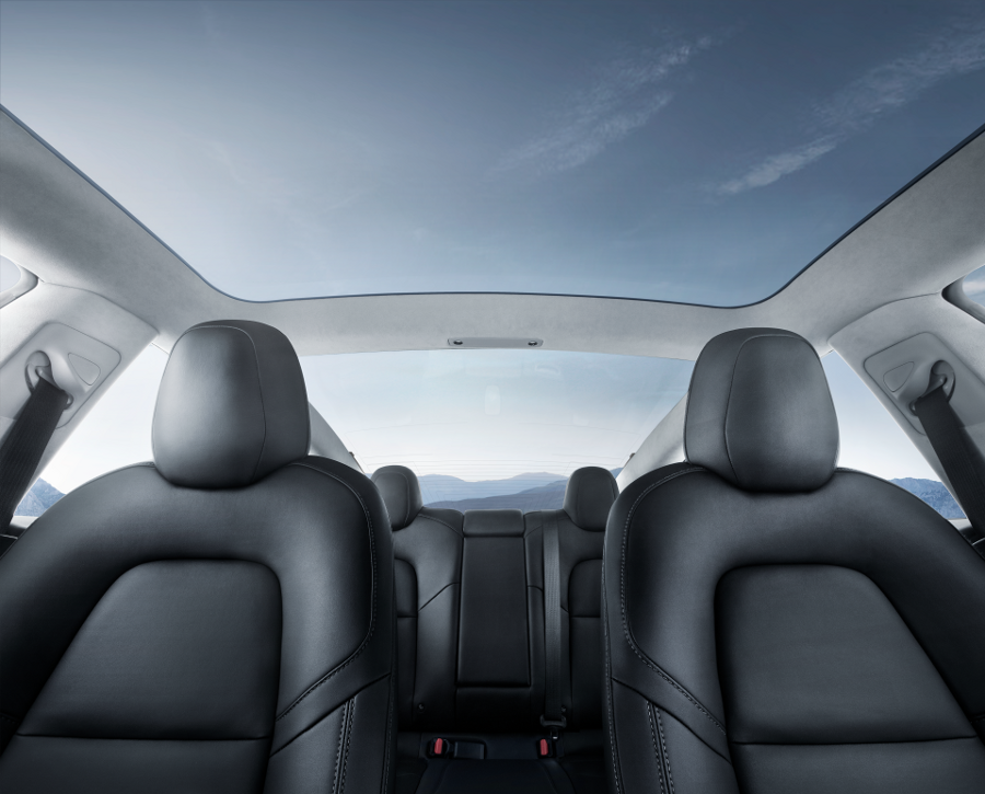 Model 3 Interior Glass Roof Blue Sky