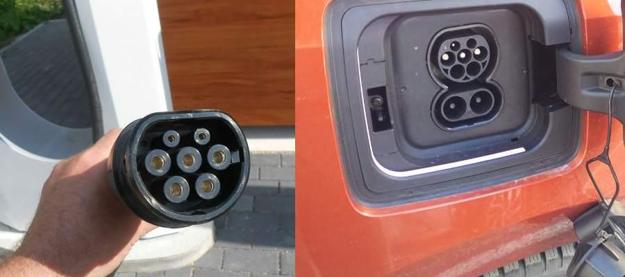 Tesla Supercharger laddkontaktdon och BMW i3 CCS ladduttag
