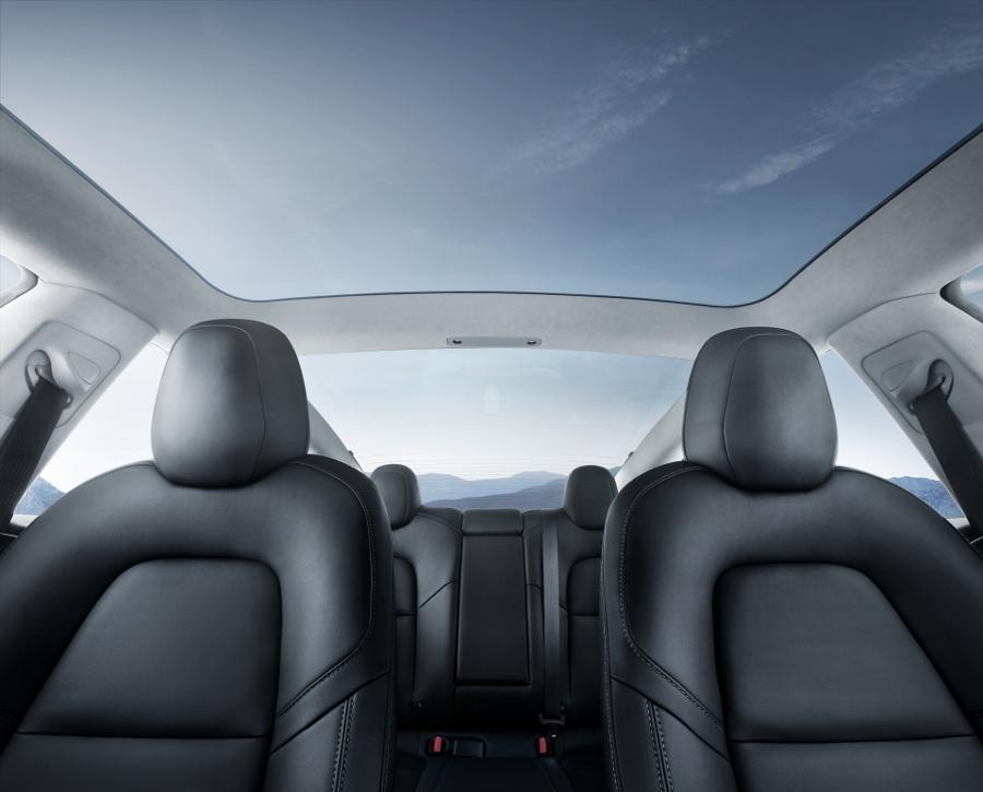 Model 3 Interior Glass Roof Blue Sky
